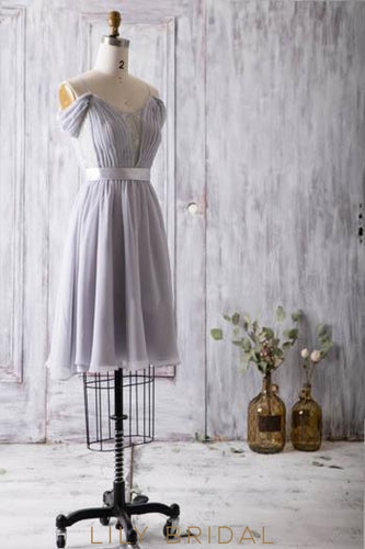 Spaghetti Strap Cap Sleeve Ruched Chiffon Short Bridesmaid Dress With Lace