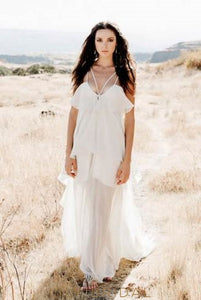 Boho Spaghetti Strap Chiffon Beach Wedding Dress With Layers