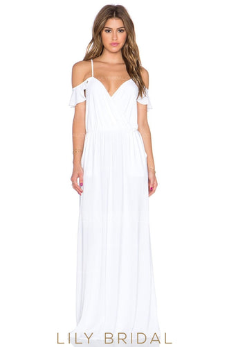 Boho Spaghetti Strap Floor-Length Chiffon Bridal Dress With V-Neck