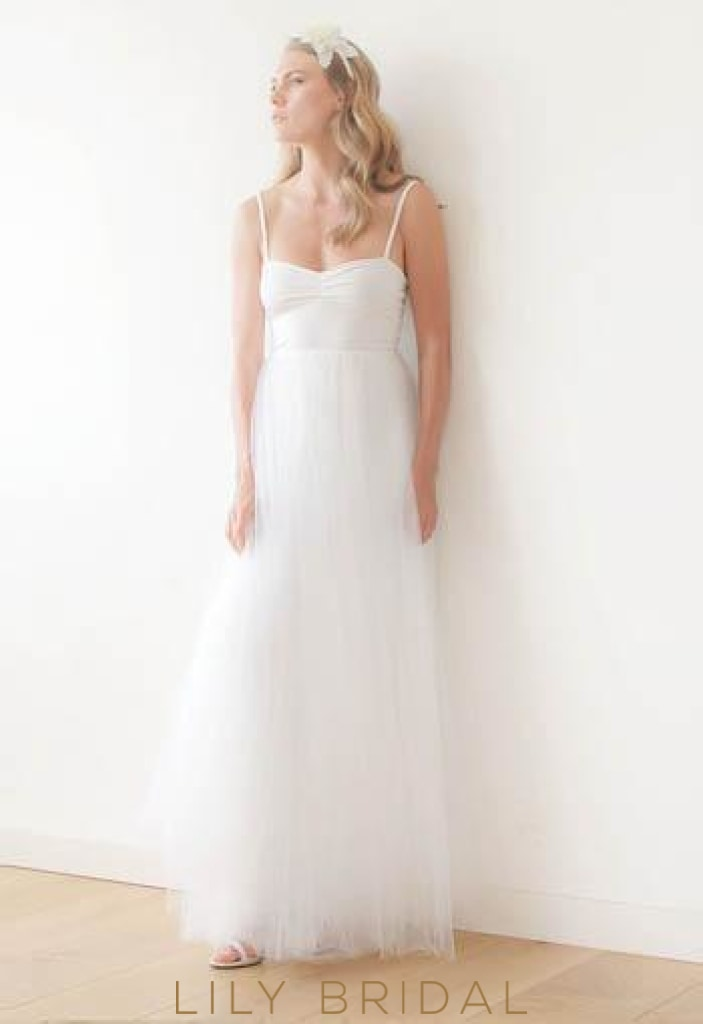 Spaghetti Strap Floor-Length Tulle Wedding Dress