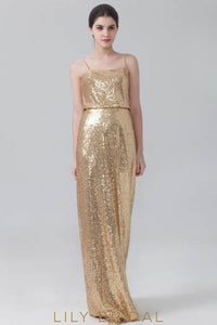 Spaghetti Strap Straight Across Neckline Golden Sequin Bridesmaid Dress