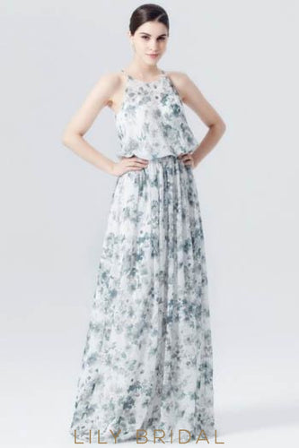 Spaghetti Strap Two-Piece Floral Print Evening Dress