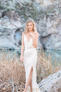 Spaghetti Strap V-Neck Bodycon Satin Bridal Dress With Slit