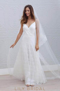Spaghetti Strap V-Neck Floor-Length Wedding Dress With Lace Applique