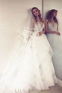 Spaghetti Strap V-Neck Tiered Ruffle Organza Wedding Dress With Illusion Lace Bodice