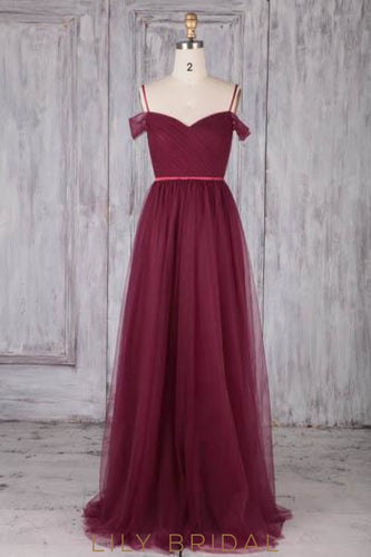Spaghetti Straps Cold Shoulder Backless Long Solid Ruched Tulle Bridesmaid Dress