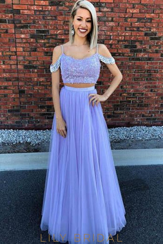 Spaghetti Straps Cold Shoulder Two Piece Floor-Length Pleated Tulle Prom Dresses