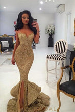 Spaghetti Straps Flounced and Tiered Skirt Golden Prom