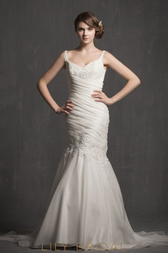 spaghetti-straps-ruched-organza-mermaid-wedding-dress-with-appliques-sweetheart