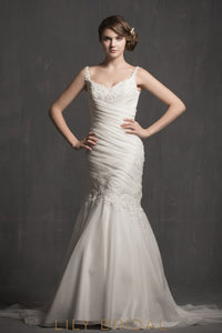Straps Ruched Satin Mermaid Wedding Dress with Appliques