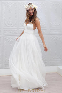 Boho Spaghetti Straps Sleeveless Backless Long Solid Pleated Sheath Tulle Wedding Dress