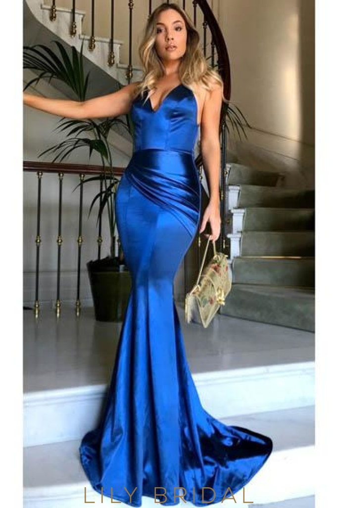 Spaghetti Straps Sleeveless Backless Long Solid Ruched Stretch Mermaid Evening Dress