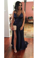 Spaghetti Straps Sleeveless Backless Long Solid Slit Sheath Evening Dress with Sweep Train