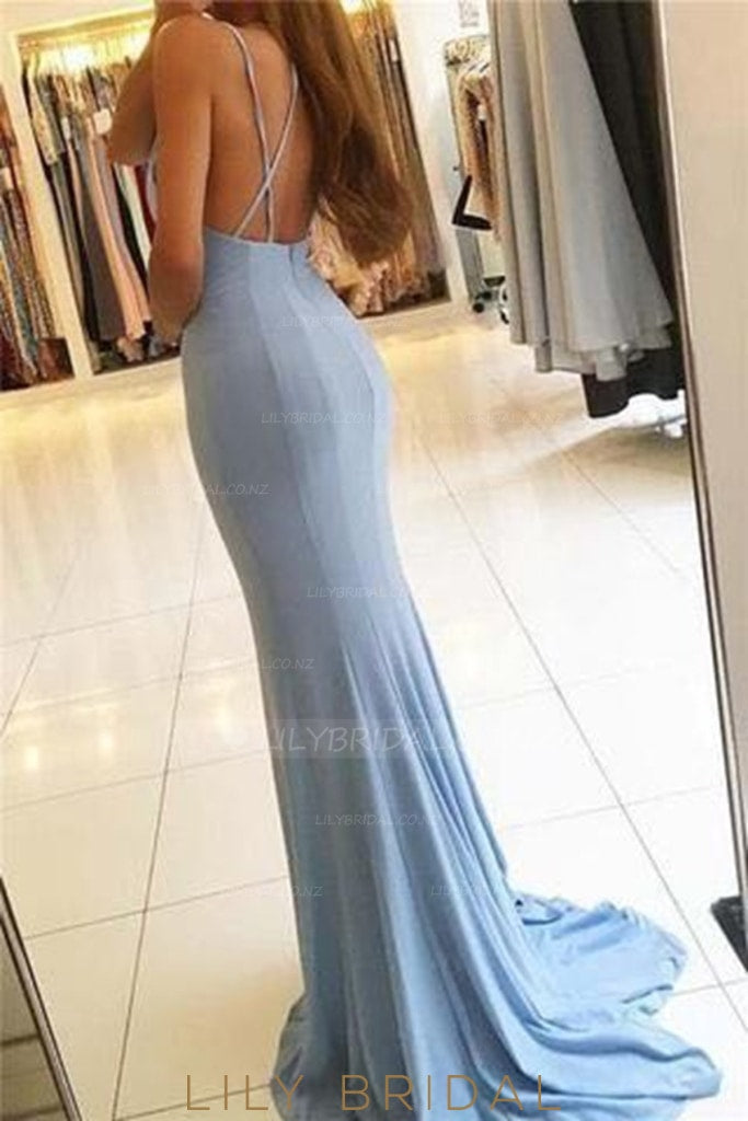 Spaghetti Straps Sleeveless Backless Long Solid Stretch Mermaid Evening Dress