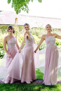 Spaghetti Straps Sleeveless Floor-Length Solid Sheath Tulle Bridesmaid Dress