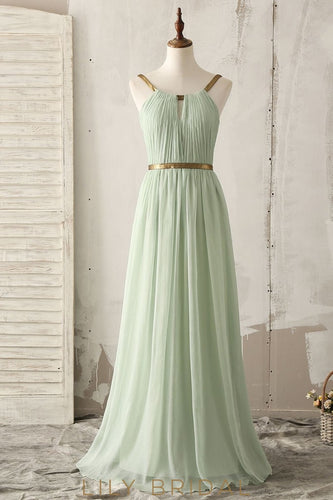 Spaghetti Straps Sleeveless Open Back Long Solid Ruched Chiffon Bridesmaid Dress