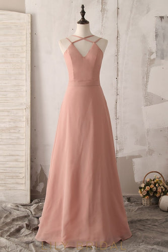 Spaghetti Straps Sleeveless Zipper-Up Floor-Length Solid Chiffon Bridesmaid Dress