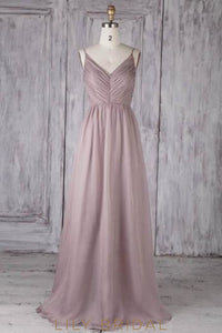 Spaghetti Straps Sleeveless Zipper-Up Long Solid Ruched Sheath Chiffon Bridesmaid Dress