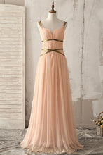 Spaghetti Straps Sleeveless Zipper-Up Long Solid Ruched Chiffon Bridesmaid Dress