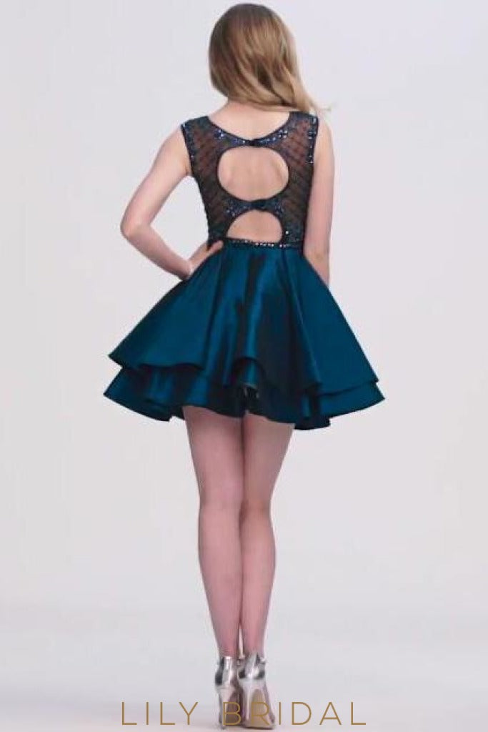 Satin Square Illusion Beaded Cocktail Dress With Layers