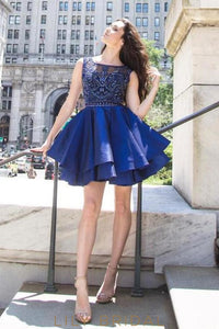 Sparkling Blue Satin Sleeveless Illusion Beaded Short Cocktail Dress