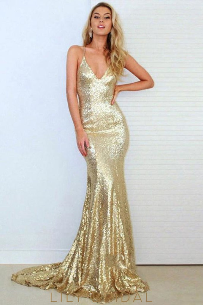 Sparkle Sequin Deep V-Neckline Spaghetti Strap Open Back Mermaid Prom Dress