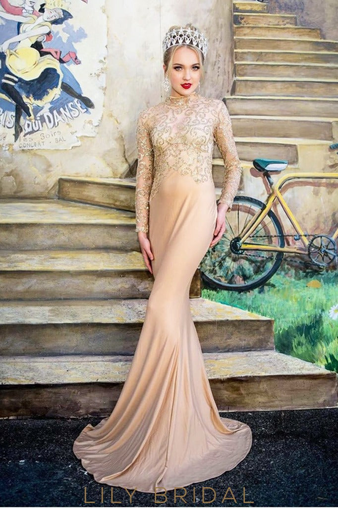 High Neck Long Sleeve Sweep Train Satin Prom Dress With Sparkle Paillette