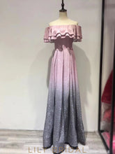 Sparkly Off-The-Shoulder Floor-Length Gradient Color Prom Dress With Ruffles