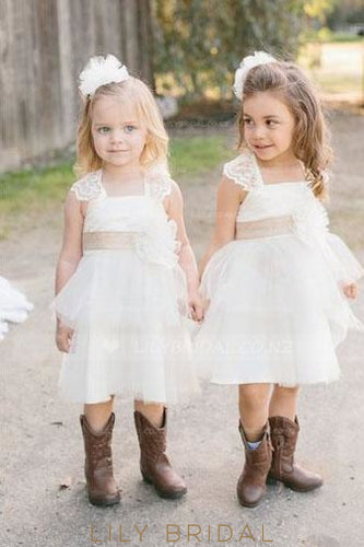 Square Neckline Cap Sleeve Knee Length A-Line Flower Girl Dress With Corsage