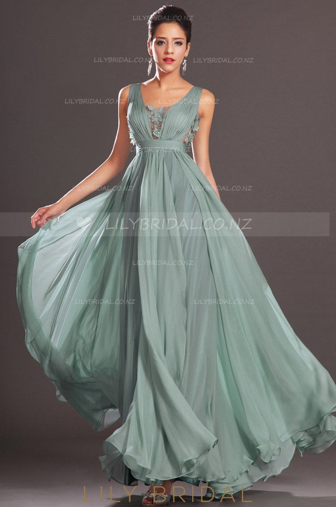 Square Neckline Sleeveless Floor-Length Floral Chiffon Evening Dress