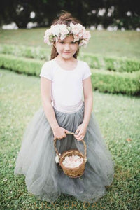 Steel Grey Jewel Short Sleeve Drop Waist Tulle Flower Girl Dress