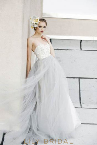 Stormy Open Back Sweetheart Strapless Rustic Tulle Wedding Dress With Lace Bodice
