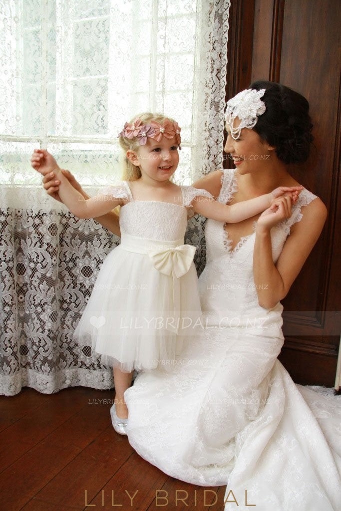 Straight Across Neckline Cap Sleeve Lace Tulle Flower Girl Dress With Bowknot