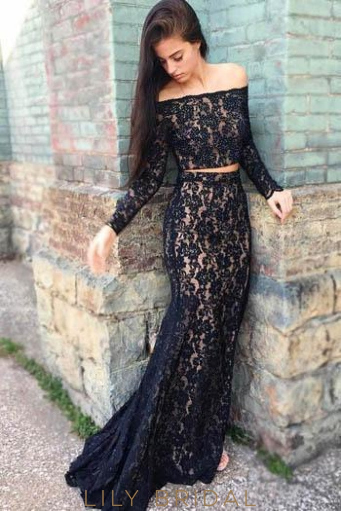 Straight Across Neckline Long Sleeve Two-Piece Lace Prom Dress With Beads