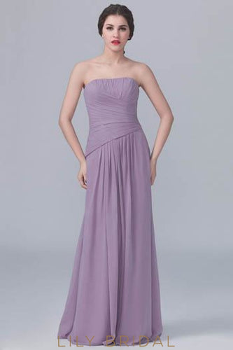 Straight Across Neckline Strapless Chiffon Bridesmaid Dress With Ruching