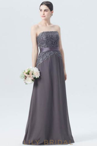 Straight Across Neckline Strapless Long Chiffon Bridesmaid Dress With Appliqued Bodice