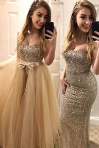 Straight-Across Neckline Strapless Sheath Sequin Prom Dress With Detachable Tulle Overskirt