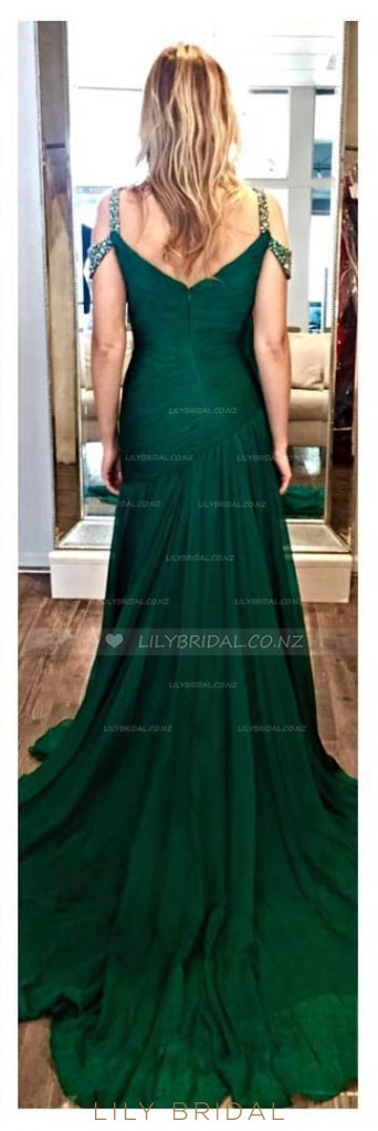 Strap Beaded Sweep Train Chiffon Evening Dress With High Thigh Slit