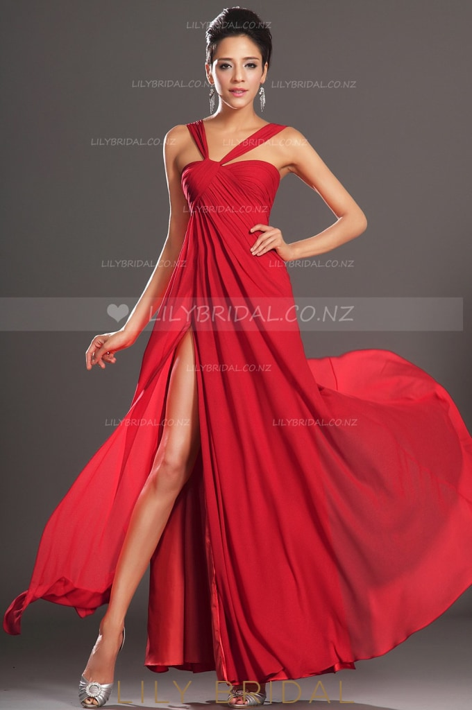 Strap Floor-Length Ruched Chiffon Evening Dress With Sexy High Side Slit
