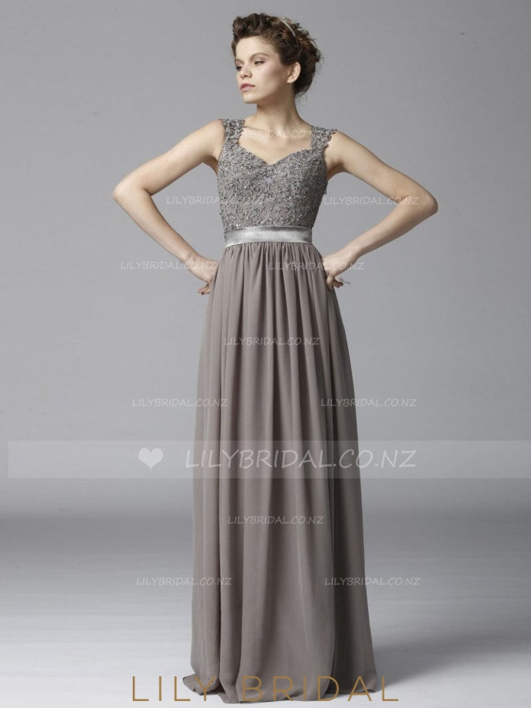 Strap Illusion Back A-Line Floor-Length Chiffon Bridesmaid Dress With Lace Bodice