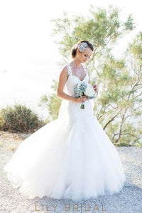 Strap Ivory Tulle Mermaid Wedding Dress With Illusion Lace Top