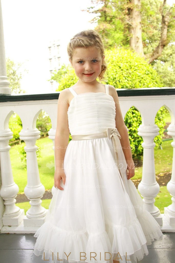 Strap Layered Tulle Flower Girl Dress With Ruched Bodice