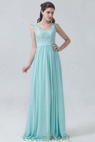 Strap Pleated Chiffon Bridesmaid Dress With Lace Bodice