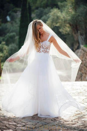 Boho Strap Sweep Train White Tulle Beach Wedding Dress With Sheer Lace Bodice