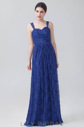 Strap Sweetheart Floor-Length Royal Blue Lace Bridesmaid Dress
