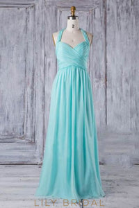 Strap Sweetheart Pleated Chiffon Bridesmaid Dress With Ruched Bodice