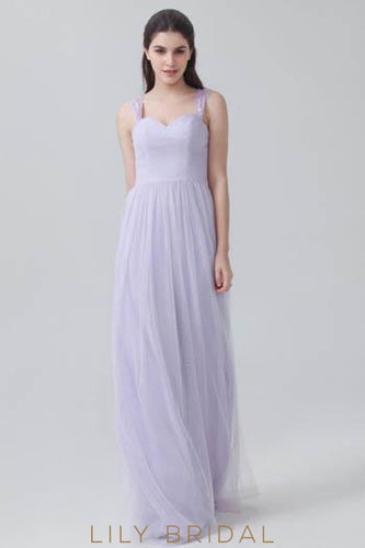 Strap Sweetheart Ruched Tulle Long Bridesmaid Dress With Lace