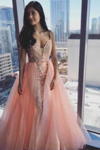 Strap V-Neck Embroidered Long Prom Dress With Organza Overskirt