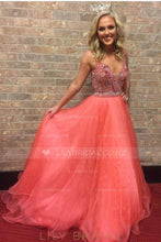 Strap V-Neck Long Organza Prom Dress With Crystal Beaded Bodice