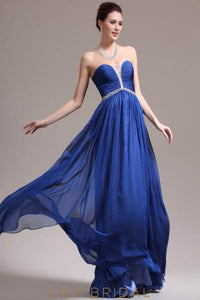 Strapless Floor-Length Chiffon Formal Evening Dress With Beads